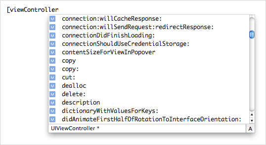 Xcode's autocompletion window